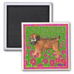 Magnet: Puppy in Garden - Pink