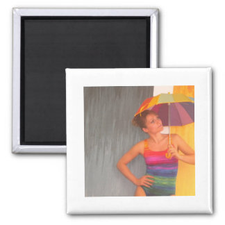 magnet rainbow umbrella summer girl
