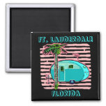MAGNET- RETRO CAMPING IN CANNED-HAM STYLE TRAILER! 2 INCH SQUARE MAGNET