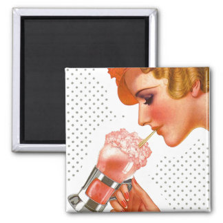 Magnet ~ RETRO Gal Enjoying Soda Fountain Drink
