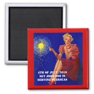 Magnet ~ Retro Gal Missing You 4th Of July Alone