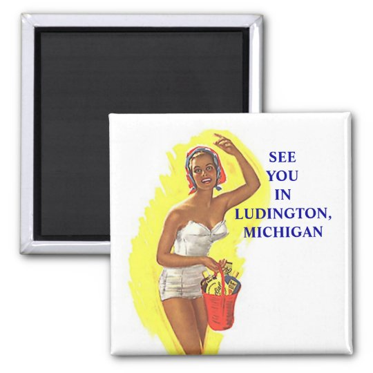 Magnet ~ RETRO Stylish Swimsuit Lady At The Beach