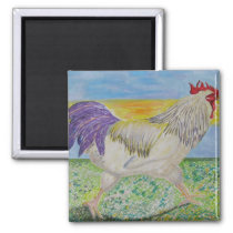 Magnet - Rooster/Chicken Art - On The Run