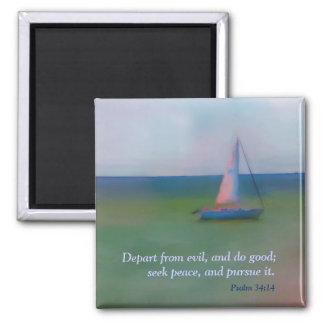 Magnet - Sailing Boat Bible Scripture, Seek Peace