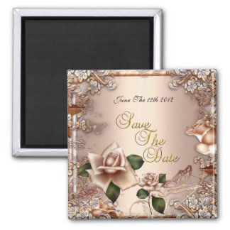 Magnet Save The Date Wedding Beige Cream Gold 2 Magnets