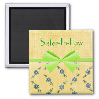 Magnet-Sister-In-Law- Green Ribbon 2 Inch Square Magnet