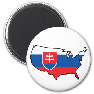 Magnet: Slovak in USA 2 Inch Round Magnet