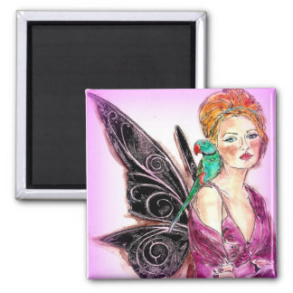 Magnet Square Fairy with a Bird