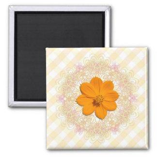 Magnet - Square - Orange Cosmos Lace Lattice