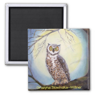 Magnet, the owl, 2 inch square magnet