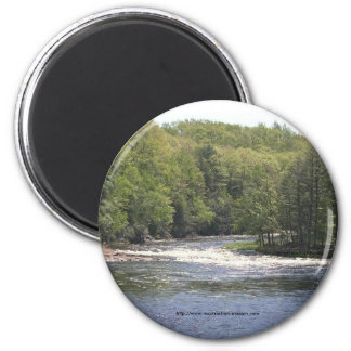 Magnet-Upper New York Trees and river 2 Inch Round Magnet
