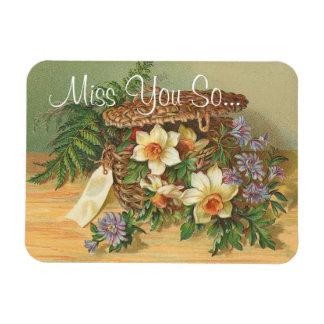Magnet - Vintage Floral Basket 'I Miss You'