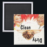 """Magnet ~ Vintage Retro Fun Clean Dirty Dishwasher<br><div class=""""desc"""">Magnet Design with fun retro design for your dishwasher.. elated is clean &amp; dirty is weeping!  Great fun as a gift and useful too!   By using the CUSTOMIZE IT option,  you can change the font style and and font size.  Enjoy Life &amp; Thanks for Visiting!!</div>"""