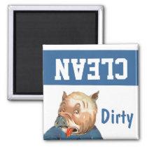 Magnet ~ Vintage Retro Pig Clean Dirty Dishwasher