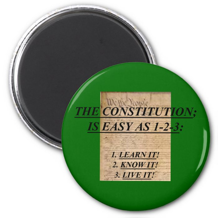 Magnet w/ The Constitution Is Easy As 1-2-3: