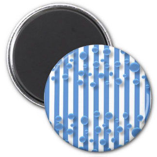 magnet--water drops and blue stripes 2 inch round magnet