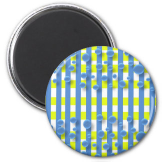 magnet--water drops and plaid 2 inch round magnet