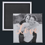 """Magnet Wedding Favor- Photo with Rose Gold<br><div class=""""desc"""">Show off your wedding or engagement photos with these adorable magnetic favors. Something your guests will keep forever. The design, by Aesthetic Journeys, features your photo with the word &quot;love&quot; in a lovely rose gold script font. Use the template to input your names and date and change the photo or...</div>"""