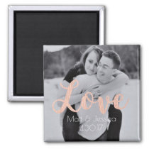 Magnet Wedding Favor- Photo with Rose Gold