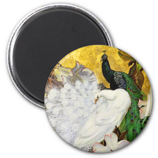 Magnet: White and Blue Peacocks 2 Inch Round Magnet
