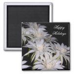Magnet-White Christmas Cactus Happy Holidays