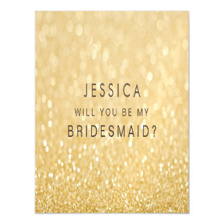 MAGNET Will you be my bridesmaid Faux Gold Glitter Magnetic Card