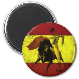 Magnet with Bullfight on Dirty Spanish Flag