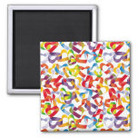 Magnet with decorative seamless with 3D hearts pat