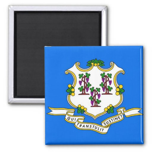 Magnet with Flag of  Connecticut State - USA