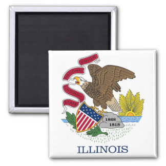 Magnet with Flag of Illinois State - USA