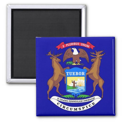 Magnet with Flag of Michigan State - USA