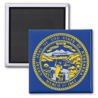 Magnet with Flag of Nebraska State - USA