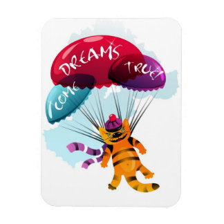Magnet with flying cat picture