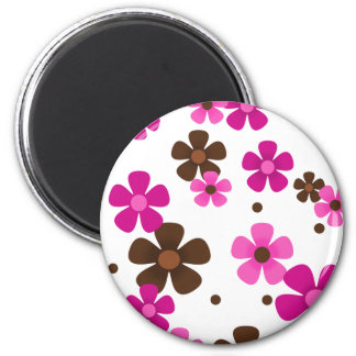 Magnet with Pink and Chocolate Brown Daisies