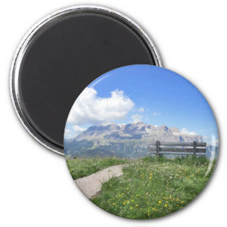 Magnet with view of Sella massif, Corvara Italy