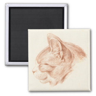 Magnet with vintage, 19th century drawing of a cat