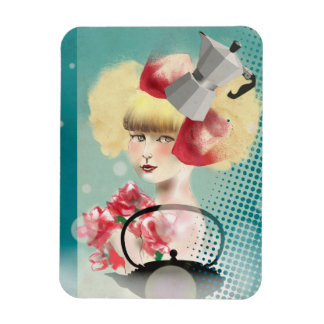 Magnet, Young girl with the teapot Rectangular Photo Magnet