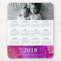 Magneta Watercolor And Gold 2018 Calendar | Photo Mouse Pad at Zazzle
