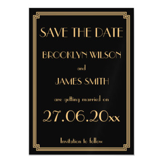 Magnetic Art Deco Black Wedding Save The Date Magnetic Card