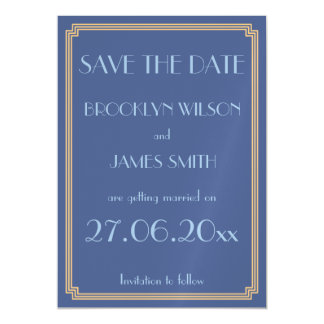 Magnetic Art Deco Blue Wedding Save The Date Magnetic Card