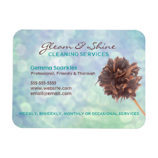 Magnetic Blue Cleaning Services Business card Rectangular Photo Magnet
