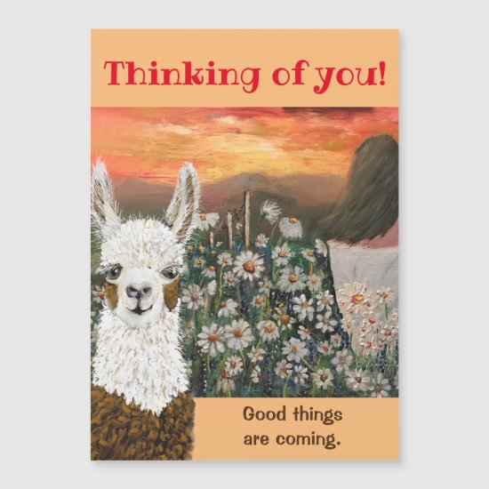 Magnetic Card.  Good Things Are Coming Mama Llama