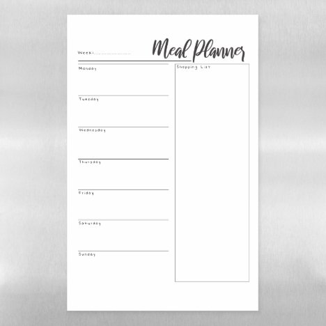Magnetic Dry Erase Weekly Meal Planner Magnetic Dry Erase Sheet