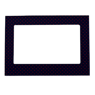 Magnetic Frame Dark Blue with Red Dots