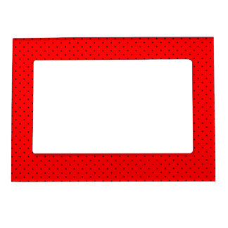 Magnetic Frame Red with Dark Blue Dots