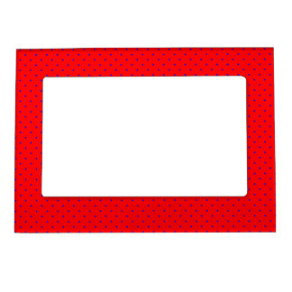 Magnetic Frame Red with Royal Blue Dots