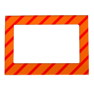 Magnetic Frame with Red-Orange Stripes