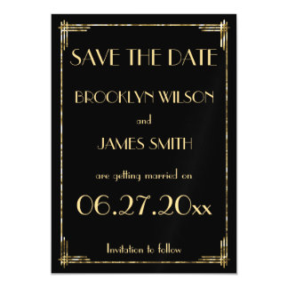 Magnetic Gold Foil Art Deco Wedding Save The Date Magnetic Card