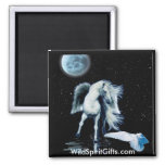 MAGNETIC MAGIC Pegasus & White Raven Collection 2 Inch Square Magnet