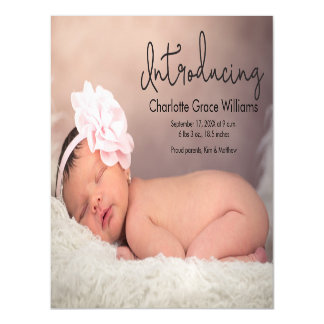 Magnetic photo baby birth announcement card